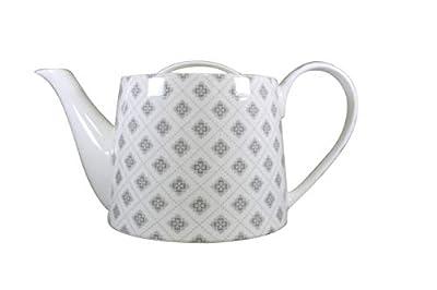 Jameson & Tailor Théière rétro Cafetière en Porcelaine Brillant Motif Fleurs d'Une capacité de 1000 ML (Gris/Blanc) / B06ZXYZYZ2