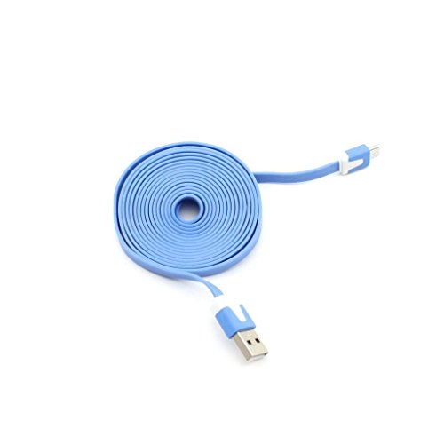 ddoq USB Ladegerät Kabel Flach USB Datenkabel 2m (Sky Blau)