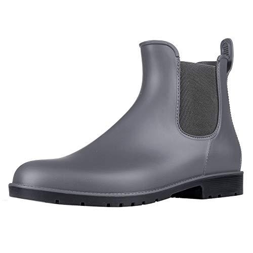 Asgard Damen Kurz Regen Stiefel Wasserdichte Knöchel Chelsea Booties, Grau, 35 EU (Stiefel Wasserdicht Regen)
