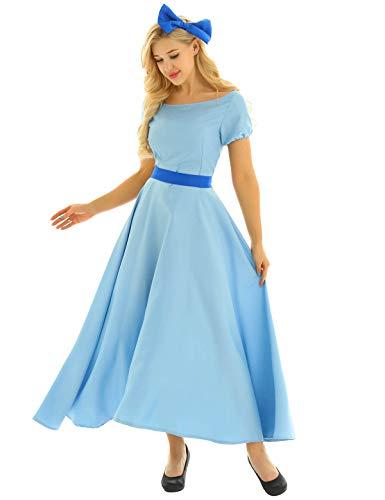 MSemis Damen Prinzessin Kleid Bodenlang Rundausschnitt Partykleid Fasching Cosplay Kostüm mit Schleife Haarklammern und Gürtel Karneval Weihnachten Hellblau 36-38