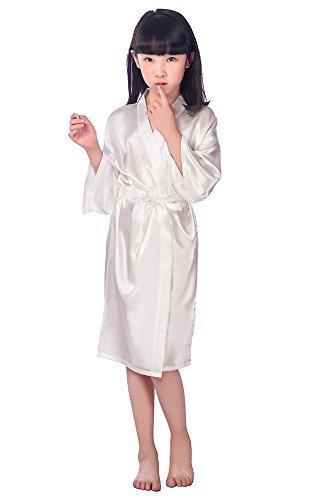 hen Kimono Robe Satin Seide Bademantel Nachtwäsche für Kinder Brautkleid Kleid Morgenmantel Kimono Negligee kurz aus Satin mit Peacock und Blumen Bademantel Weiß M ()