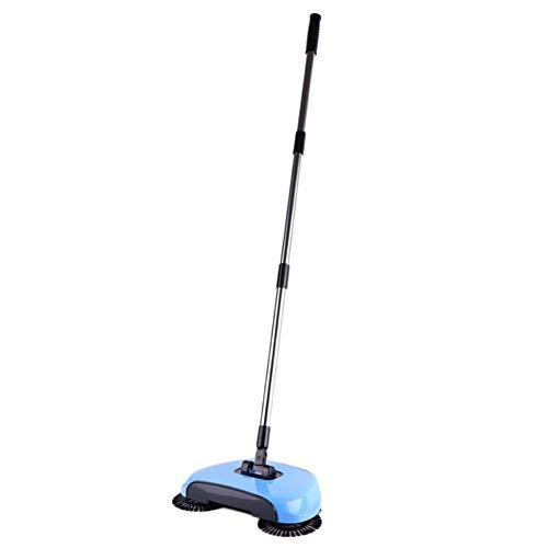 ZJDD Besen Edelstahl-Kehrmaschine Push Typ Hand Push Magic Broom Kehrschaufel Griff Haushaltsreinigungspaket Hand Sweeper , Blau - Blau Bagless Staubsauger