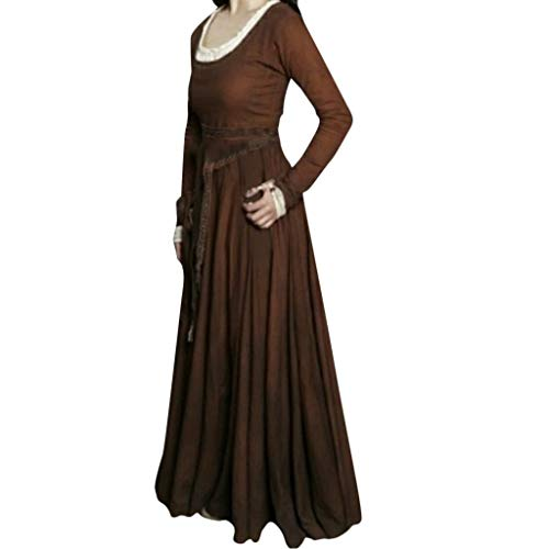 Damen Mittelalter Kleid Gewand Gothic Spitze Langarm Kleider Viktorianischen Königin Kostüme Retro Renaissance Medieval Princess Dress Erwachsene Cosplay Karneval Fasching Halloween Weihnachten Party