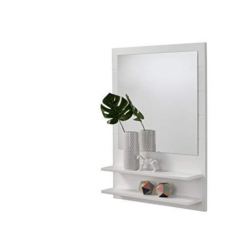 HOGAR24 ES Mueble recibidor para Entrada con Espejo y Dos baldas, Color Blanco.