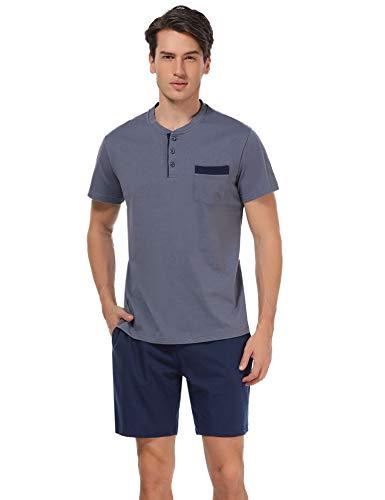 Aibrou Herren Schlafanzug Pyjama kurz Nachtwäsche Set Sommer Sleepwear Loungewear aus Baumwolle Blau2 XXL -