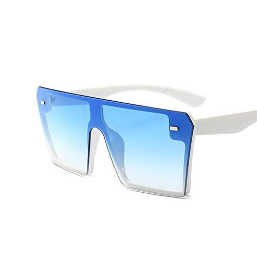 ETCBUYS Flat Top Damen Sonnenbrillen - Übergroßes Design Außerhalb des Rahmens Fashion Brillen - Gute Beständigkeit gegen Verformung Hochwertige Komponenten Textur Spiegel Bein Sonnenbrillen - Blau