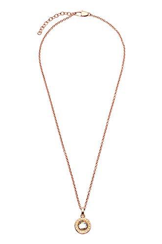 JEWELS BY LEONARDO Damen-Halskette Matrix roségold klein, Edelstahl IP roségold mit facettiertem klarem Glasstein und LEONARDO-Gravur, Länge 400 mm