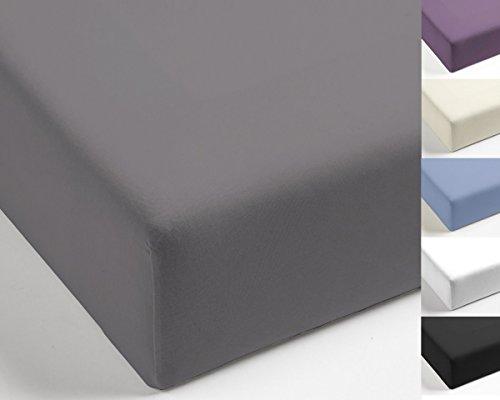 Uni Wende Bettwäsche / Spannbettlaken Mistral Home Edel Perkal 100% Ägyptische Baumwolle, Farbe:Dark Grey, Größe:140x200cm Spannbettlaken