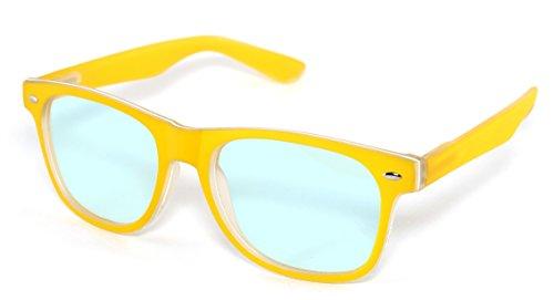 4sold Rubi Damen Herren Lesebrille Blaufilterbrille Blaues Licht und UV Schutzbrille Bildschirmbrille fortgeschrittene Gamer Gamingbrille Computerbrille Black (Yellow, 1.50)