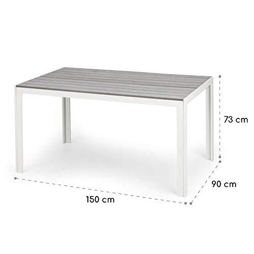 blumfeldt Bilbao White Edition - Mesa de jardín, 150 x 73 x...