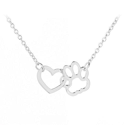 Lovinda Girl Frauen Silber überzogene Halskette Anhänger Hund Klaue Herz Diamant Zirkon Halskette Anhänger Schlüsselbein Kette Günstige Schmuck für Freundin Frauen Dame Geburtstagsgeschenk
