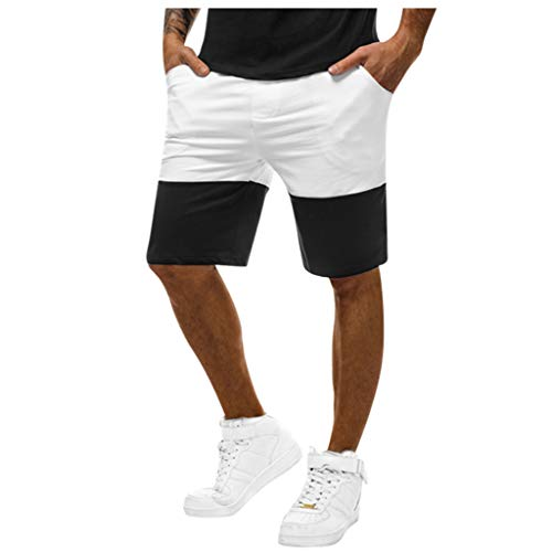 Xmiral Shorts Hose Herren Patchwork Elastische Taille Kordelzug Sporthose für Fitness Ball Jogger Strassenmode Badehose Strandhosen Sporthose(Weiß,M)