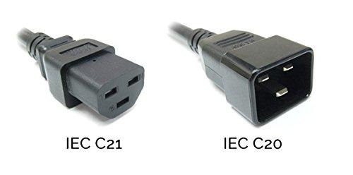 Power Verlängerungskabel IEC C20Stecker Stecker auf IEC C21Buchse 1,8m - Power-amp-rack