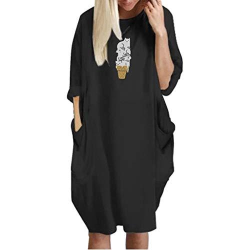 Junjie Rockabilly Kleider Damen große größen Pocket Lose Dress Damen Rundhalsausschnitt Casual Long Tops Kleid Plus Size Blau, Rot, Grau, Schwarz