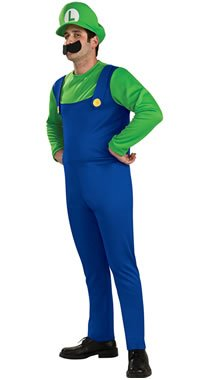 Super Mario Luigi Mens Fancy Dress Adults Costume Licensed Outfit S M L (Men: Small, Luigi)