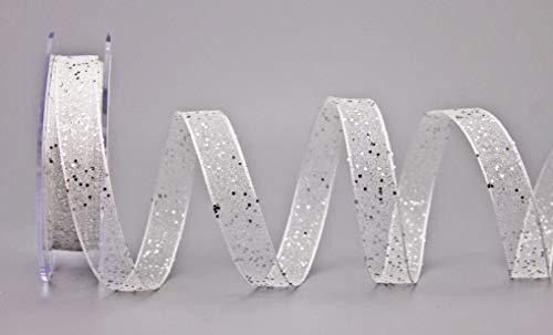 finemark Dekoband Glitzer Weiss Silber 20 m x 15 mm (Rolle) Stoffband Transparent glänzend Organza mit Drahtkanten elegant Weihnachten Advent Geburtstag Premium Glitter Ribbon