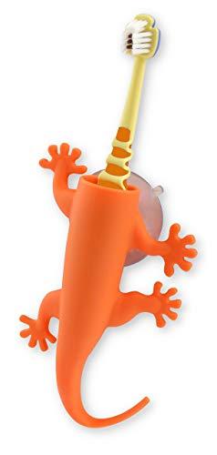 Orange Zahnbürstenhalter (Unbekannt J-Me Larry die Eidechse Zahnbürstenhalter-orange, Silicone, 17x8x3 cm)