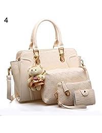 ELECTROPRIME 5 Pcs/Set Fashion Lady Faux Leather Handbag Shoulder Bag Clutch Card Holder Gift - B077N8G26H