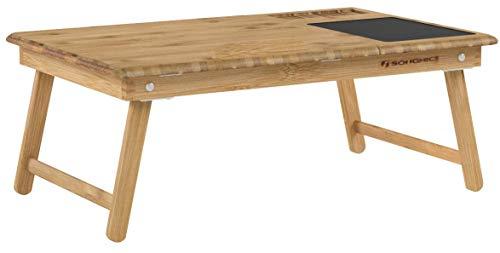 SONGMICS Table de lit pliable, en Bambou, Table pour ordinateur portable, Hauteur réglable, avec Tiroir, Petit-déjeuner au lit, LLD008