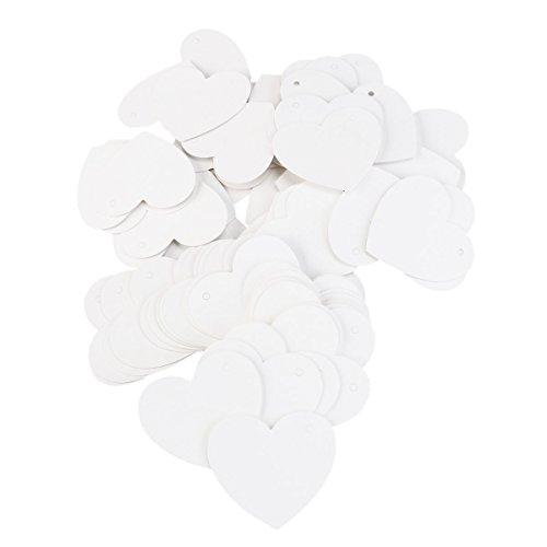 NUOLUX 100pcs Herzen Kraft Papier Geschenkanhänger für Hochzeit Gunst DIY Gepäck Preis Label (weiß) (Herz Papier)