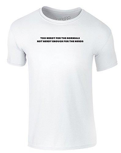 Brand88 - Not Nerdy Enough, Erwachsene Gedrucktes T-Shirt Weiß/Schwarz