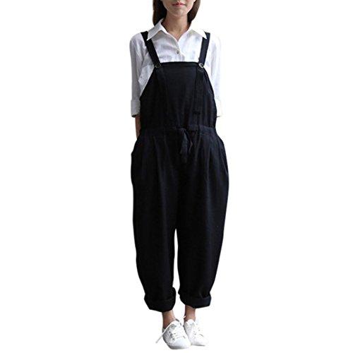 Rcool Dame Großes Plus Size Baggy Leinen Overalls Casual Wide Bein Hosen Sleeveless Spielanzug Jumpsuit Vintage Haren Hosen (L, Schwarz)