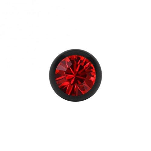 Stahl - Schraubkugel - schwarz - Kristall - SWAROVSKI - Supernova Concept (Piercing Schraubkugel Aufsatz für Hufeisen, Stäbe, Labrets etc.) 6 mm   LS Light Siam / Rouge