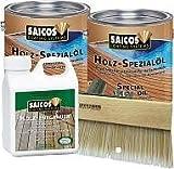 Terrassen Öl Set 2 x 2,5 Liter Saicos Spezial Öl – nach Wahl, 1 Liter Saicos Holzentgrauer, 1 Saicos Streichbürste 150 mm