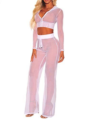 2Pcs Bikini Damen Durchsichtiges Mesh Hoodie Langarm Crop Tops mit Reißverschluss High Waist Hoher Elastischer Bund Weites Bein Lange Hose Sexy Badeanzug Bikini Cover Up Strand Outfits (Weiß , S ) -