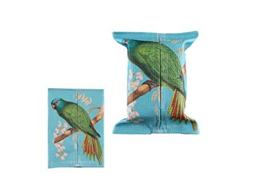 Gwanna Tissue Box Hülle Niedliche Vogel Muster Baumwolle Leinen Tissue Box Paper Pumping Box für Home (blau) Utility - Serviettenhalter Vögel