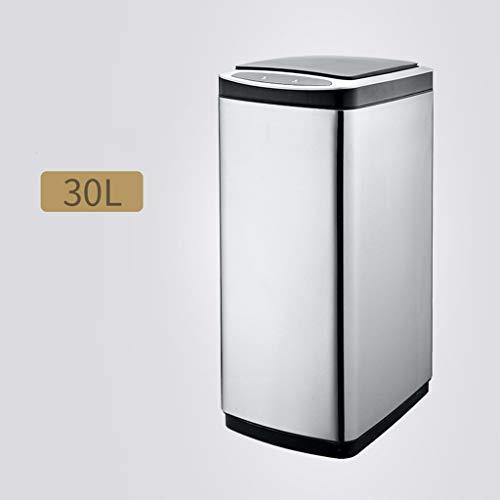 CXD Papierkorb-Verbot mit Deckel ITouchless automatischer berührungsloser Sensor-Abfalleimer - rechteckige Form des Edelstahls (Kapazität : 30 Liter, Farbe : Metal Silver) (Papierkorb Itouchless)