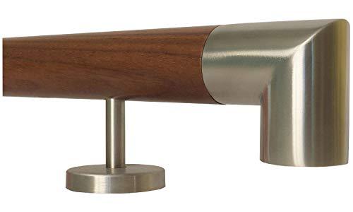 Nussbaum Geländer Handlauf Treppe Holz Griff gerade Edelstahlhalter, Länge 30-500 cm aus einem Stück/zum Beispiel Länge 210 cm mit 3 gerade Halter - Enden =Edelstahlecke -
