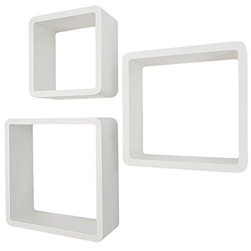 proheim Wandregal 3er Set Cube Regal in Weiß Hängeregal mit 15 Kg Belastbarkeit Bücherregal aus hochwertigem MDF Holz Schweberegal Bücher Ablage Regalsystem