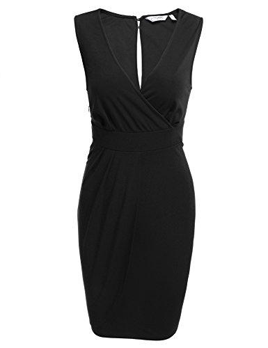 ANGVNS Damen Etuikleid Bleistiftkleid Business Kleid Bodycon Rüschen Ärmellos Knielang Festlich Kleid (Schwarzes Kleid 4-knopf-anzug)