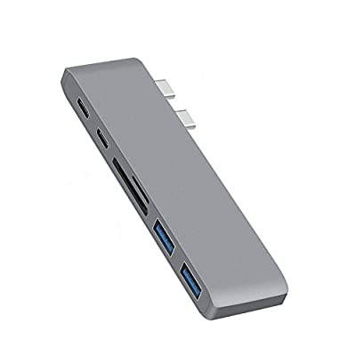 "RGBS Aluminum USB-C Hub Adapter Dongle for MacBook Pro 13"" and 15"" 2016/2017, Thunderbolt 3 Dock, TF/SD Card Reader, TB3, USB-C, 2 USB 3.0 Ports, Designed for MacBook Pro, Grey from Generic"