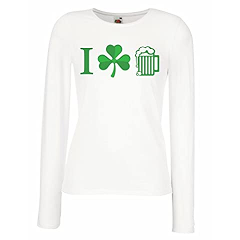 Weibliche langen Ärmeln T-Shirt The Symbols of St. Patrick's Day - Irish Icons (Small Weiß Mehrfarben)