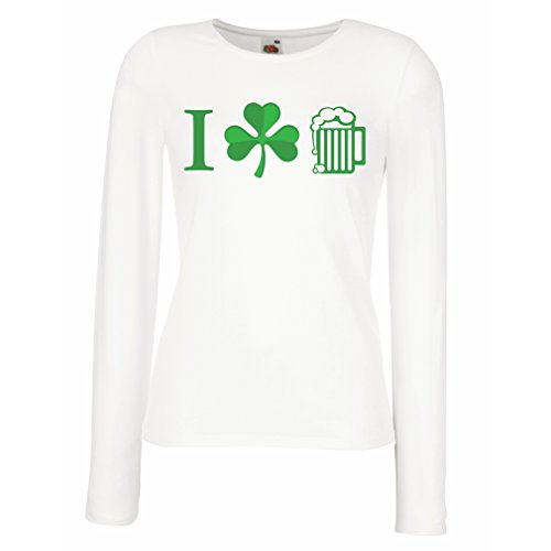 Weibliche langen Ärmeln T-Shirt The Symbols of St. Patrick's Day - Irish Icons (X-Large Weiß Mehrfarben)