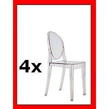 Kartell - Kartell victoria ghost competencia 4 x apilando la transparente silla victoria ghost de philippe starck para el conjunto de precios 4856 b4