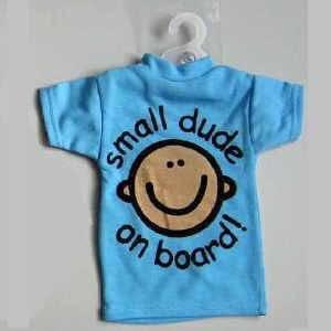 Small Dude Mini T-shirt Car Sticker, Baby on Board