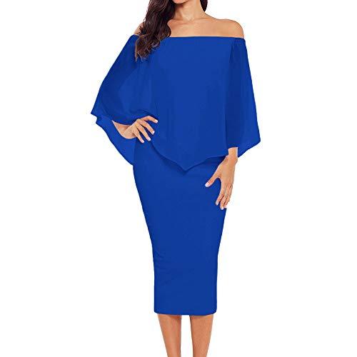 Ancapelion Damen Schulterfrei Midi Kleid mit Chiffon Schal Cocktailkleid Elegant Pencil Partykleid Lässige Kleidung Abendkleid Frauenkleid Kleider, L( EU 44-46), Blau One-shoulder-chiffon-kleid