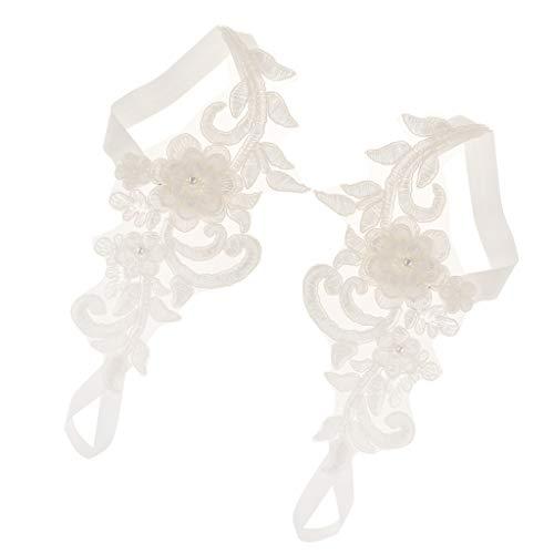 Spitzen Fußkettchen (perfeclan Damen Barfuß Sandalen Fußkettchen Fußkette Fußschmuck, Länge: 20 x 8 cm, aus Spitze)