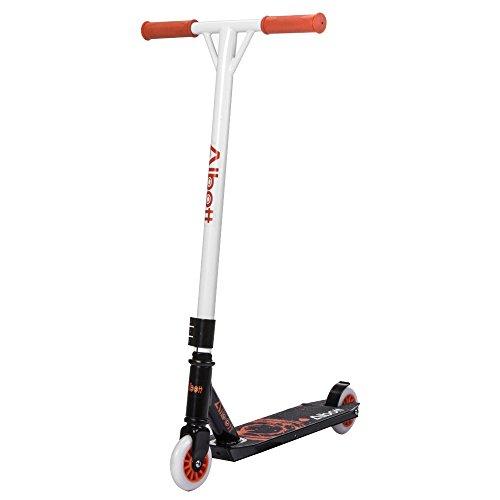 Albott Sport Stunt Scooter Sports Roller -360 Grad Scooter Erwachsene Kinder 100mmPU + PC Rad Garantie Funscooter, Trickscooter, Freestyle-Roller (Orange-White)