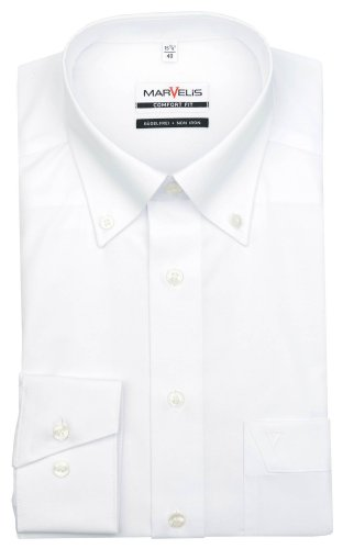 Marvelis Comfort Fit Hemd Button Down Kragen weiss Weiß