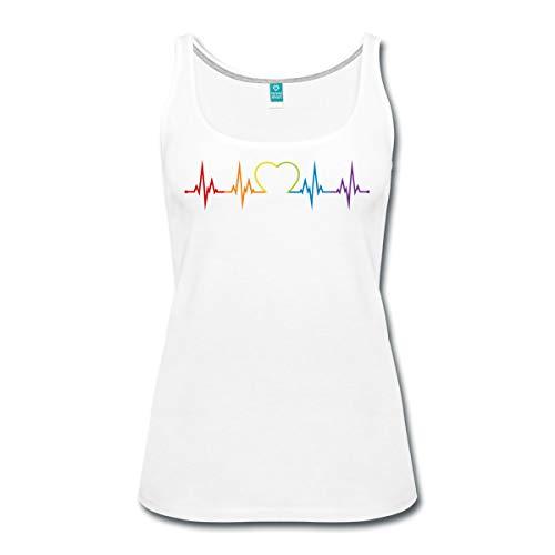 Spreadshirt LGBT Queere EKG Linie Mit Herz Gay Pride Frauen Premium Tank Top, M (38), Weiß