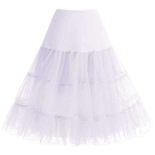 bbonlinedress Organza 50s Vintage Rockabilly Petticoat Underskirt White L (50's Und 60's Rock And Roll Kostüm)