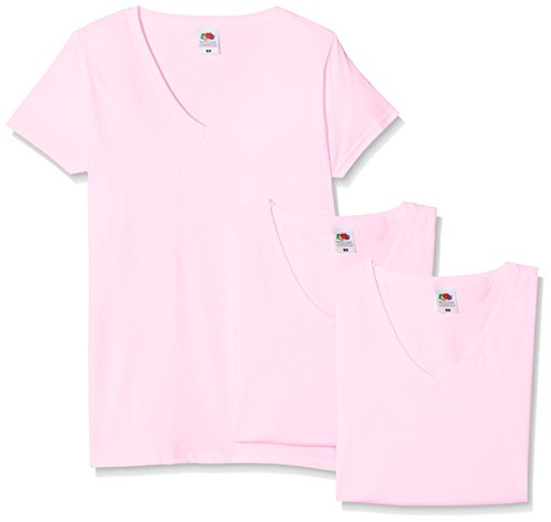 Fruit of the Loom Damen T-Shirt, 3er Pack Pink (Light Pink)