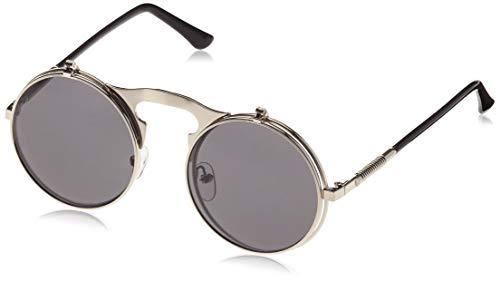Dollger Herren Lennon Flip up Runde Sonnenbrille(Schwarze Linse+Silberrahmen)