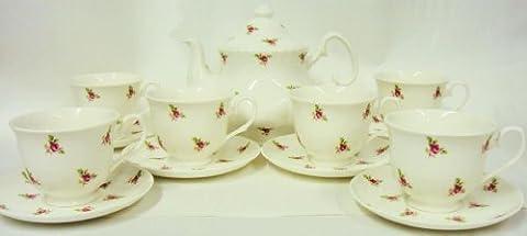Rose Bud Tea Set Fine Bone China Hand Decorated in the UK Tea Set 1 Teapot 6 Cups & 6 Saucer Free UK