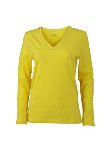 JAMES & NICHOLSON Langarm Shirts aus weichem Elastic-Single-Jersey Yellow
