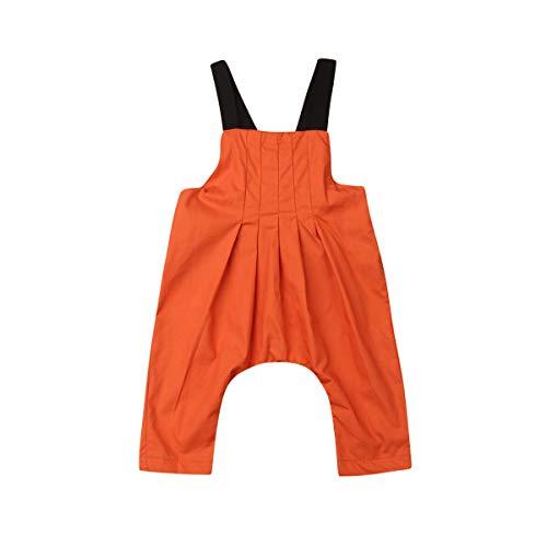 Top Drapiert Arm (CIPOGL Baby Mädchen Jungs Einfarbig Jumpsuit Romper Ärmellos Suspender Overalls Strampler Sommer Babykleidung (3-6 Monate, Orange))